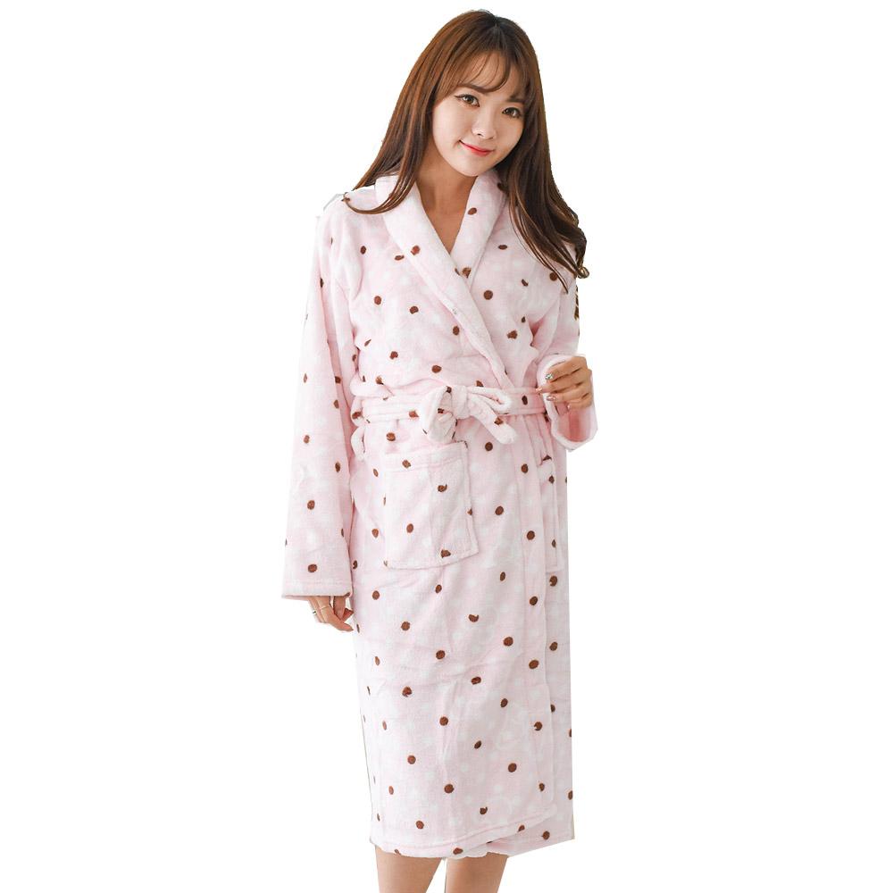극세사 MK도트 수면가운, 핑크, 1개