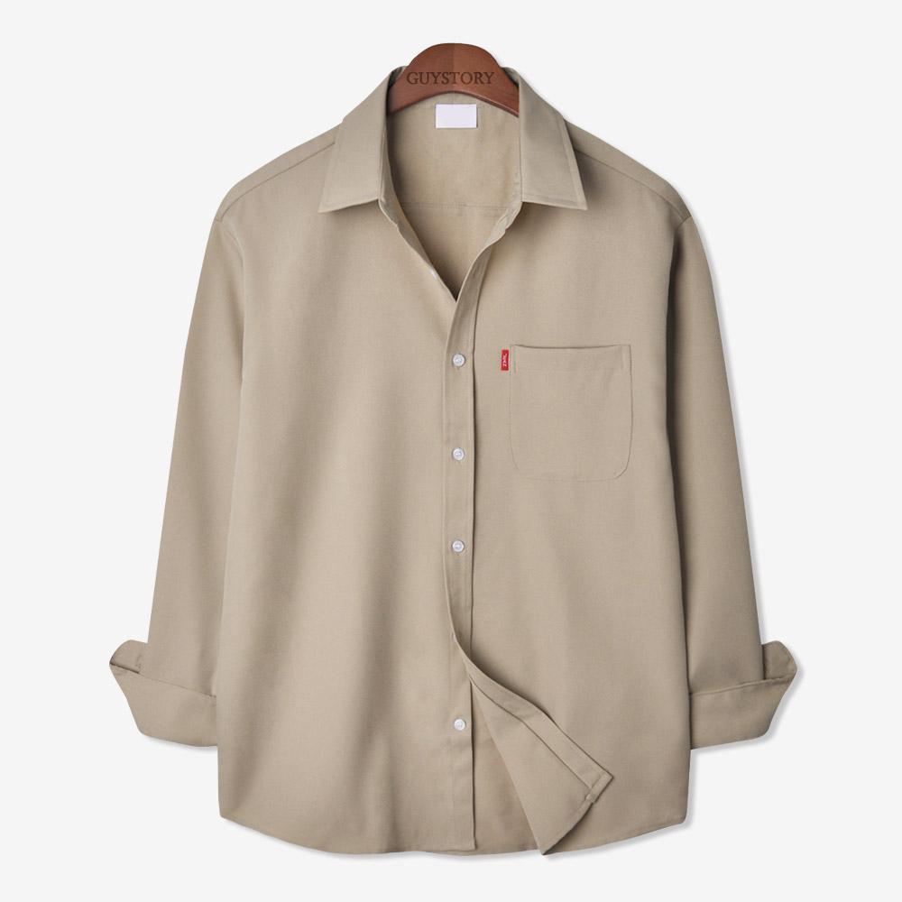 가이스토리 남성용 사계절 피셔 포켓 긴팔 빅사이즈 캐주얼 셔츠