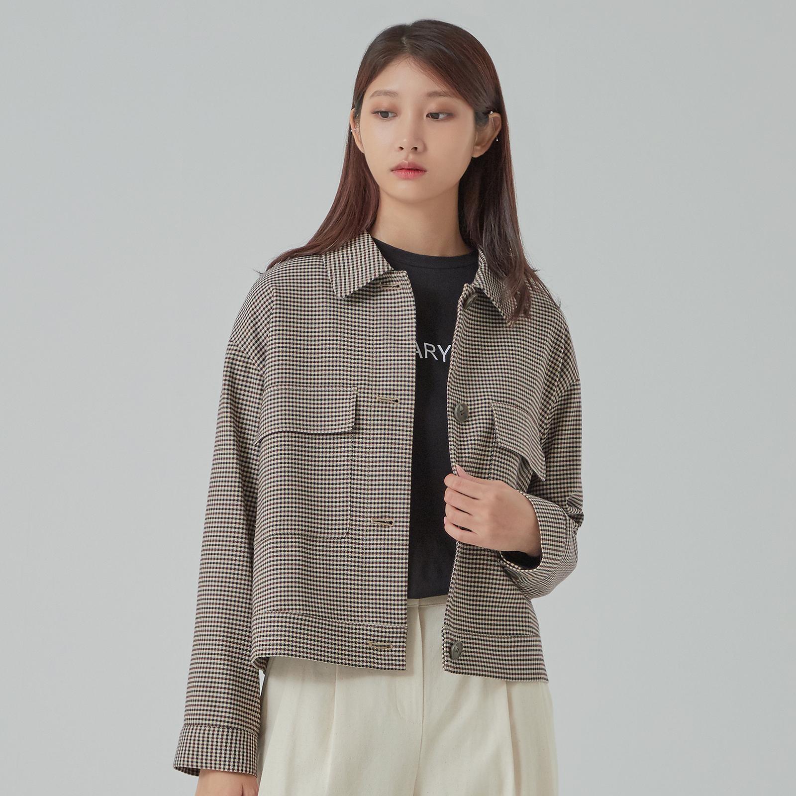 미쏘 여성용 체크 숏 트러커 재킷