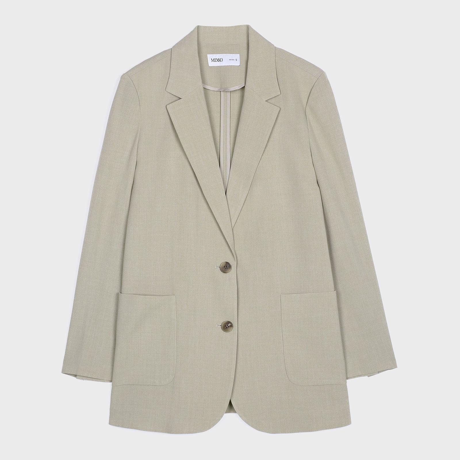 미쏘 여성용 체크 오버핏 싱글 재킷