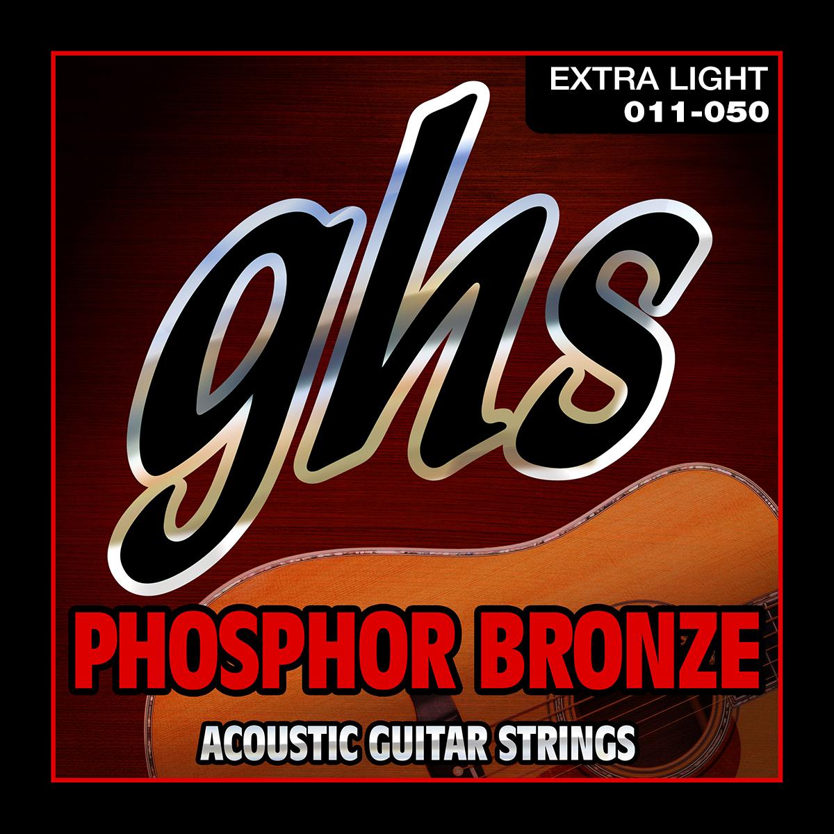 GHS S315/1150 포스포 브론즈 엑스트라 라이트 어쿠스틱 기타 줄, 혼합색상