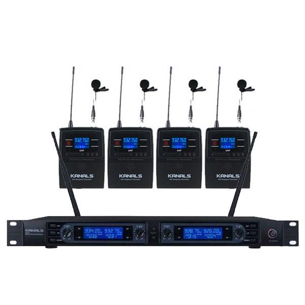 카날스 4채널 900MHz 강의 회의 행사용 무선 시스템 핀마이크 4p 세트, BK-4200