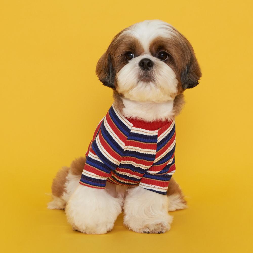 플로트 스트라이프골지티셔츠 강아지옷, 레드블루