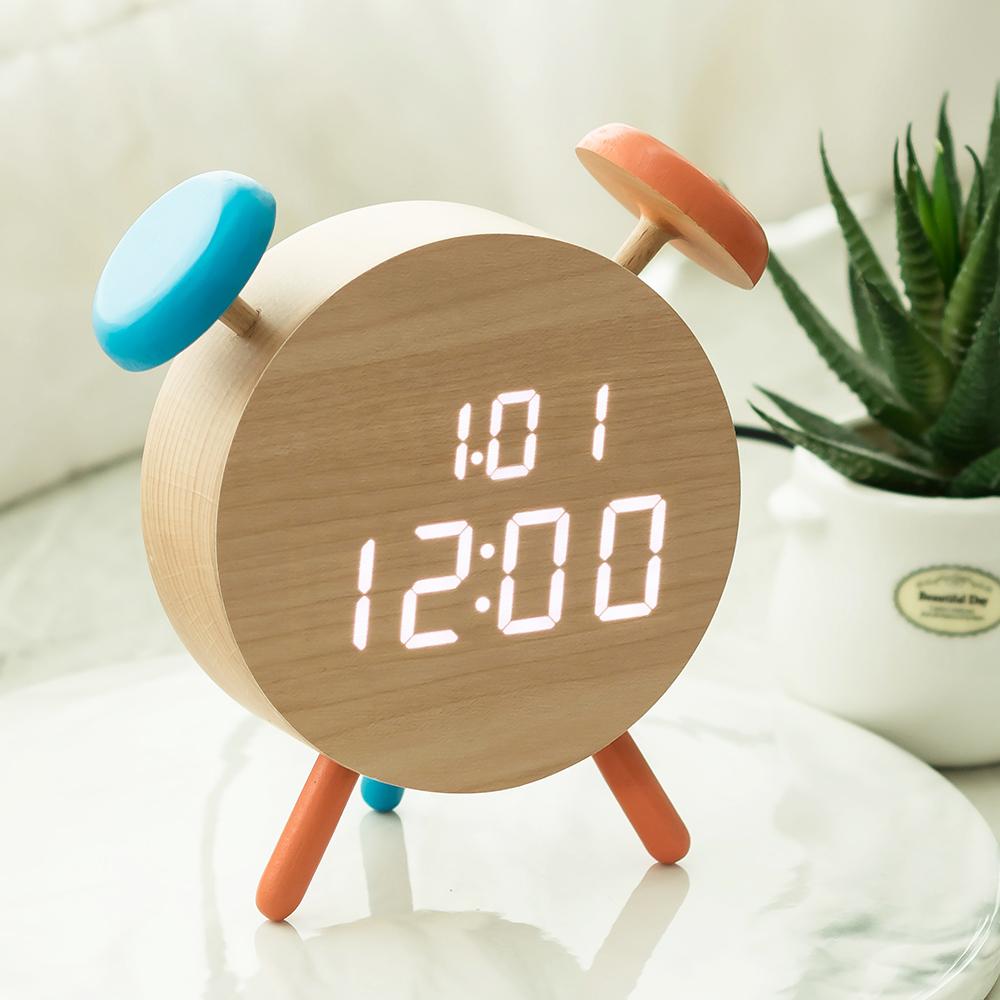 플라이토 우드 벨클락 LED 탁상시계, 메이플