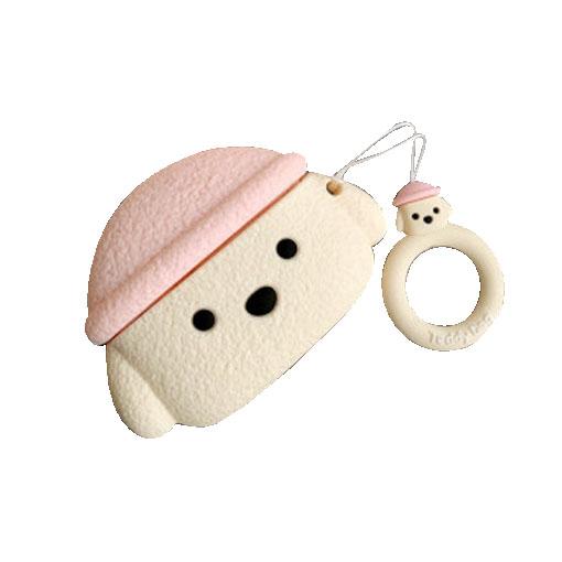 모자 쓴 강아지 에어팟 프로 케이스 + 미니어처 키링, 핑크 모자 강아지