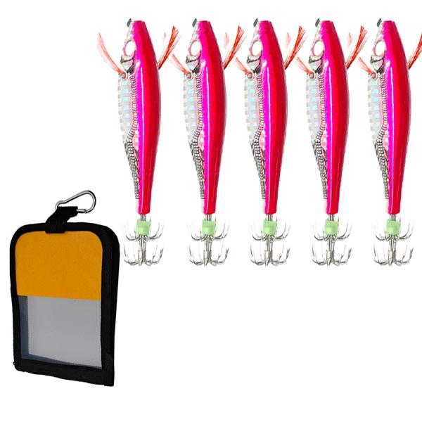 히트몬스터 수평 레이저에기 11g x 5p + 파우치 47g 세트, 핑크