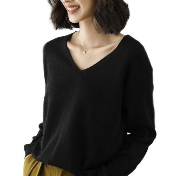 솔레일 여성용 소프트 스웨터 브이넥 루즈니트