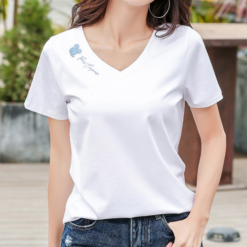 데일로엔 여성용 미키 브이넥 반팔 티셔츠
