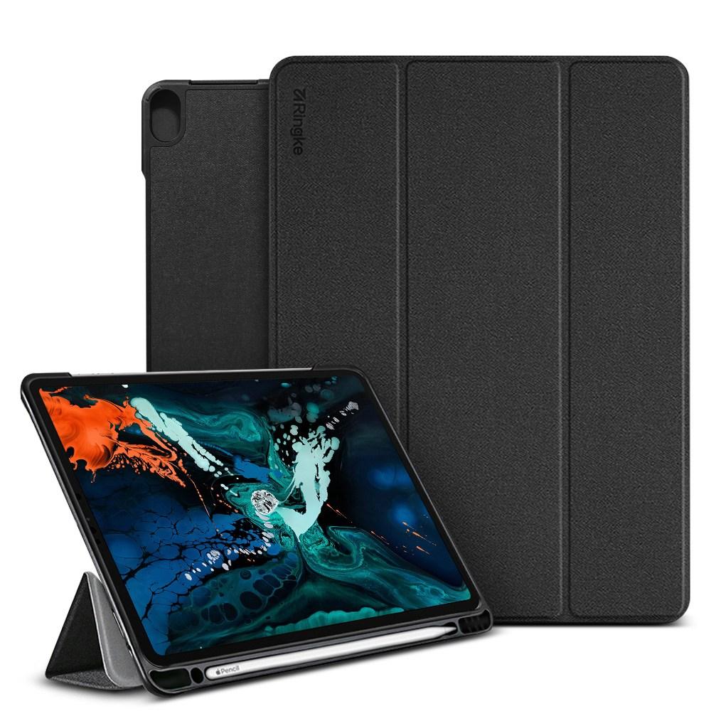 링케 스마트 애플펜슬 스탠드 커버형 태블릿PC 케이스, 블랙