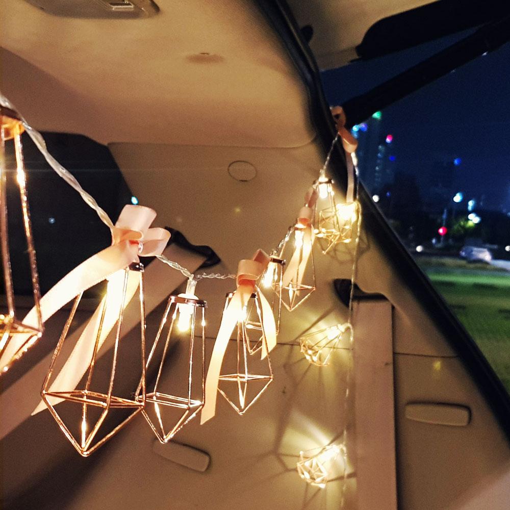 이플린 건전지형 메탈 로즈골드 LED 줄조명 10구 1.5m + 리본DIY + 선물상자, 사각다이아