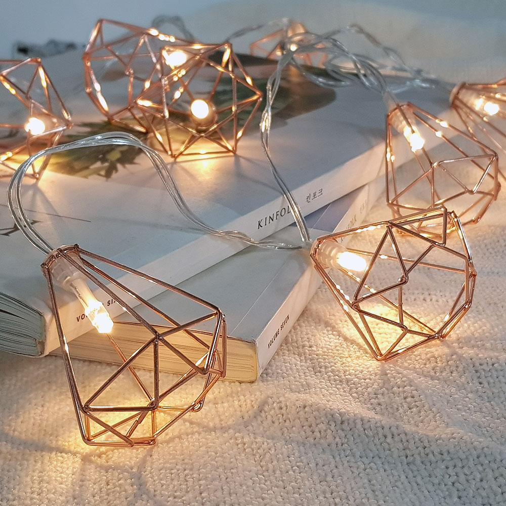 이플린 건전지형 메탈 로즈골드 LED 줄조명 10구 1.5m + 리본DIY + 선물상자, 다이아몬드