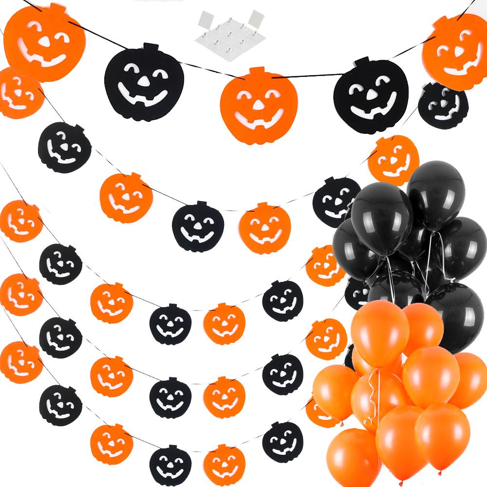 할로윈 장식 파티 펠트투톤 가랜드 호박 5p + 풍선 스탠다드 오렌지 10p + 블랙 10p + 마운트, 혼합색상, 1세트