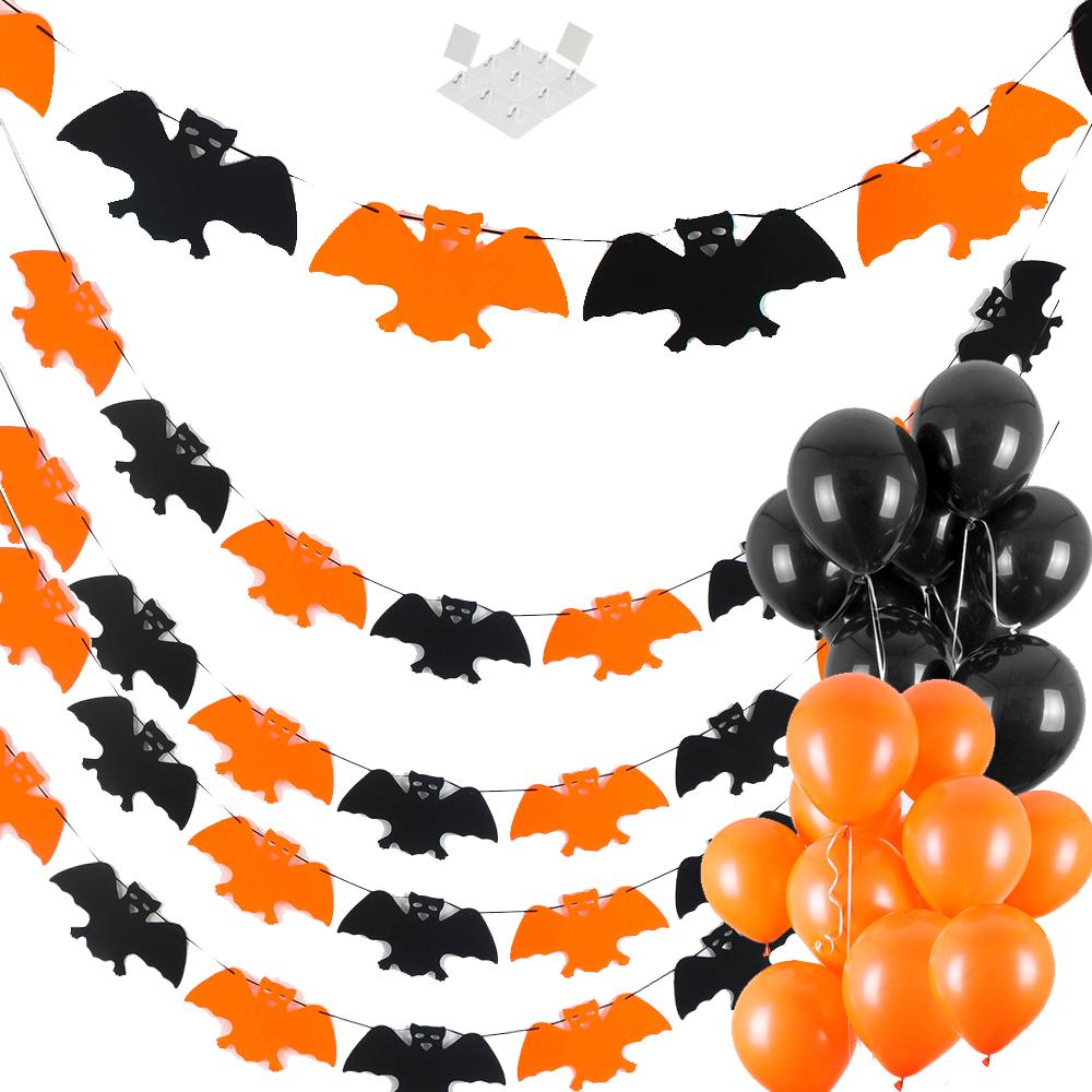 할로윈 장식 파티 펠트투톤가랜드 박쥐 5p + 풍선 스탠다드 오렌지 10p + 블랙 10p + 마운트, 혼합색상, 1세트