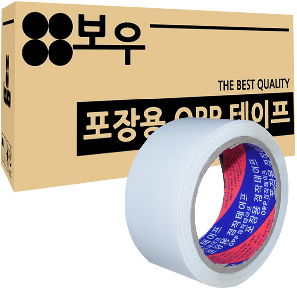 보우 포장용 OPP 아크릴 컬러테이프 48mm x 45m, 흰색, 50개