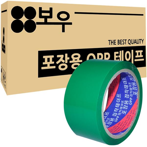 보우 포장용 OPP 아크릴 컬러테이프 48mm x 45m, 초록색, 50개