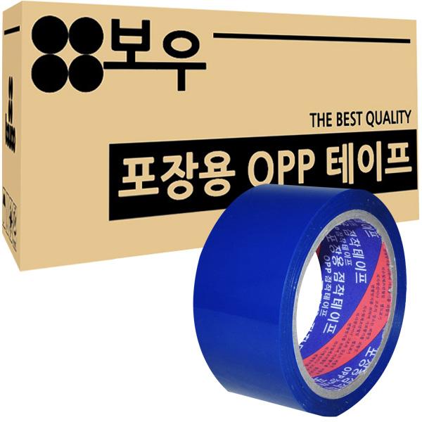 보우 포장용 OPP 아크릴 컬러테이프 48mm x 45m, 파란색, 50개