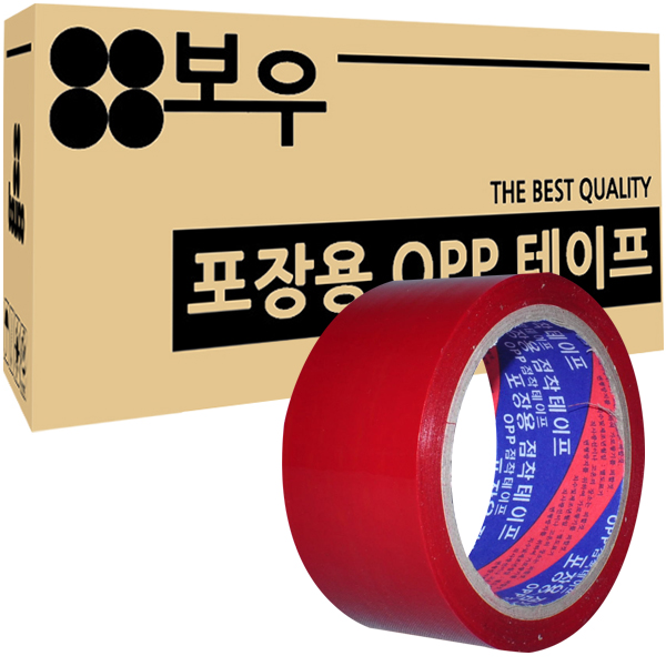 보우 포장용 OPP 아크릴 컬러테이프 48mm x 45m, 빨간색, 50개