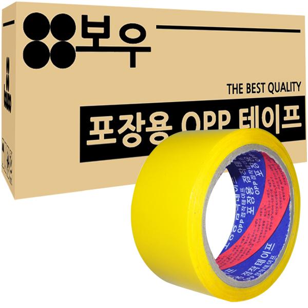 보우 포장용 OPP 아크릴 컬러테이프 48mm x 45m, 노란색, 50개