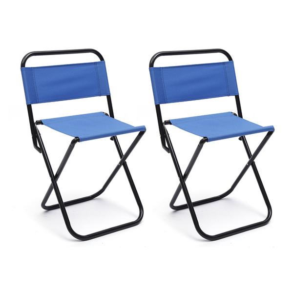 블럭마트 휴대용 심플 캠핑의자 세트, 블루, 2개