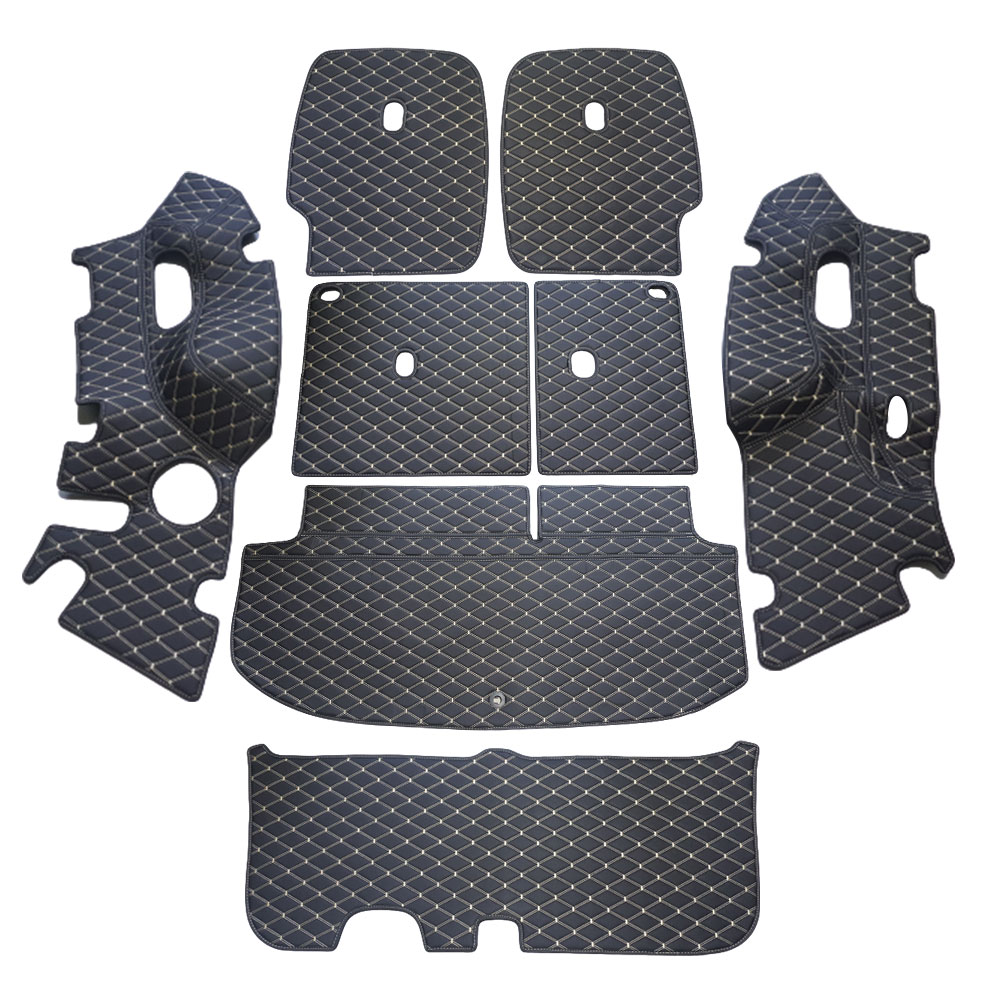 차팡 풀커버 SS 원단 차량용 트렁크매트 블랙 아이보리 + 벨크로 까끌이 15p + 보들이 15p, 현대, 펠리세이드 풀모델 7인승(3열 수동)