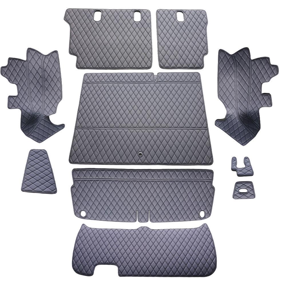 차팡 풀커버 일반 원단 차량용 트렁크매트 블랙 앤 블랙 + 벨크로 까끌이 15p + 보들이 15p, 기아, 모하비 더마스터 5인승
