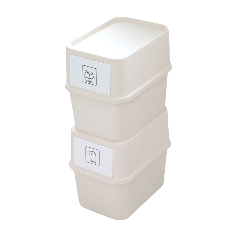 가쯔 마카롱 다용도 재활용 분리수거함 대형 + 스티커 세트, 아이보리, 2세트