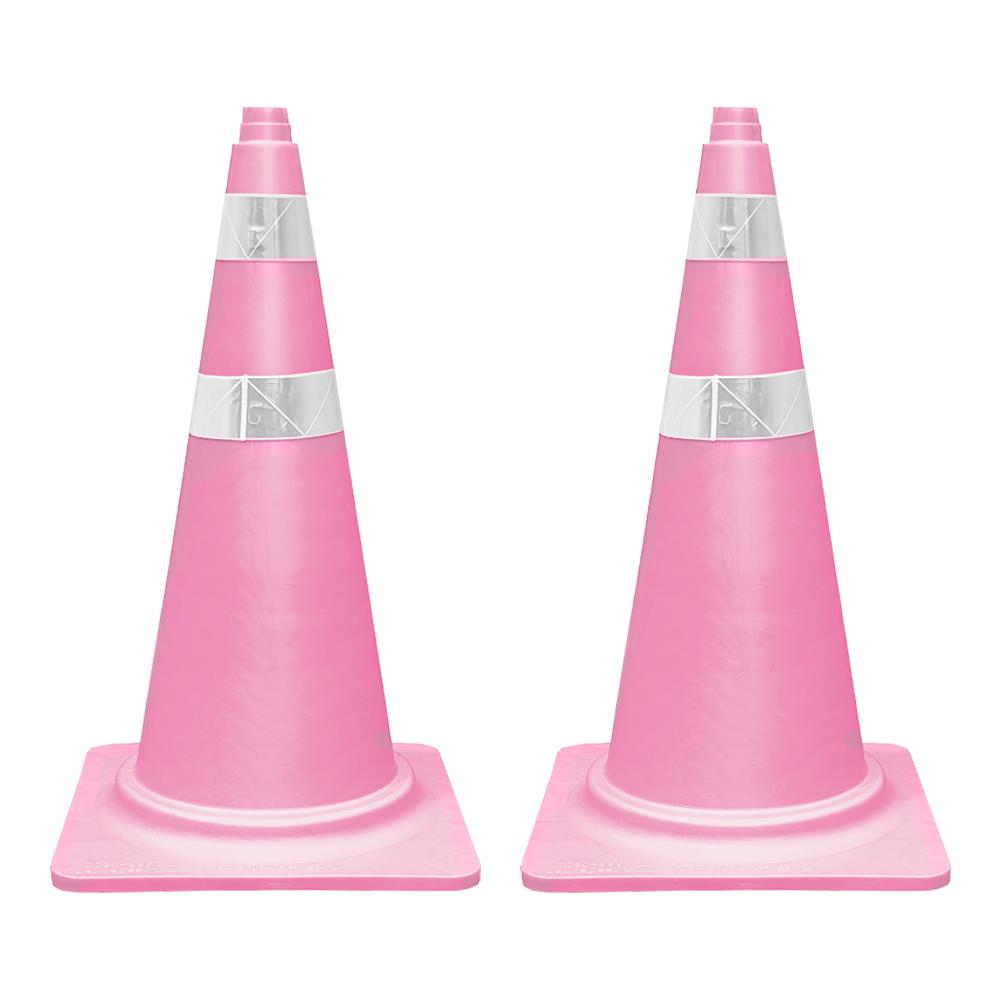 동광세이프티 칼라콘 안전펜스 핑크색, 2개