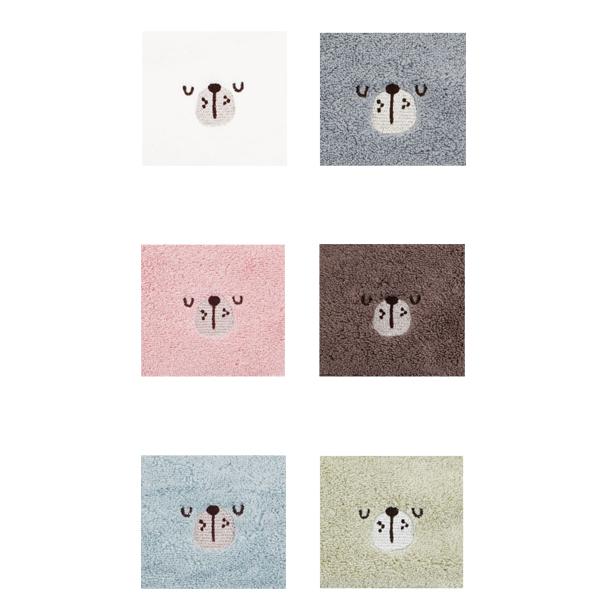 송월타월 해피페이스 곰 고리수건 6종 세트, 화이트, 그레이, 핑크, 브라운, 블루, 그린, 1세트