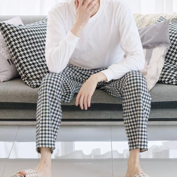 민트코코아 남성용 9부 체크 패턴 바지
