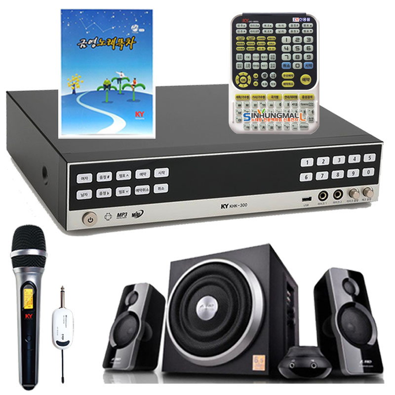 금영 가정용 노래방 반주기 + 무선마이크 + 대형 리모컨 + 미니 오디오, KHK-300
