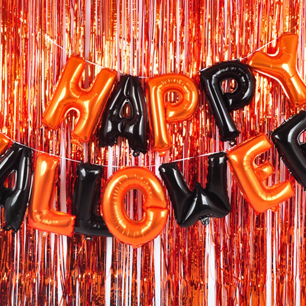 할로윈 은박풍선 해피할로윈 + 커튼 오렌지 2p + 블랙 2p + 글루닷, 오렌지, 블랙, 1세트