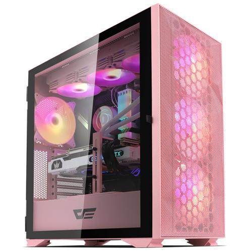다크프래쉬 컴퓨터 케이스 미들타워 핑크 DLX21 MESH