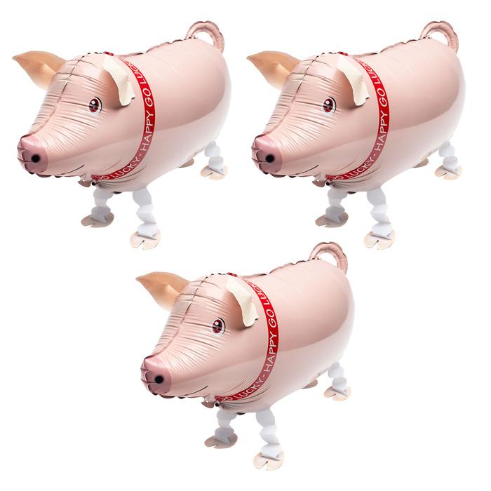 파티팡 걸어 다니는 동물 은박 풍선, 돼지, 3개