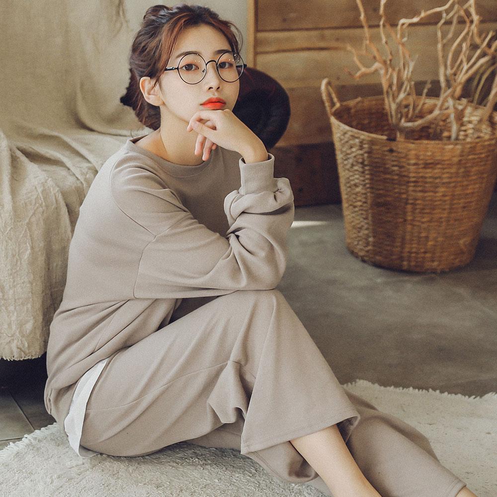 여성용 클레어 레이어드 투피스 긴팔 잠옷 상하세트