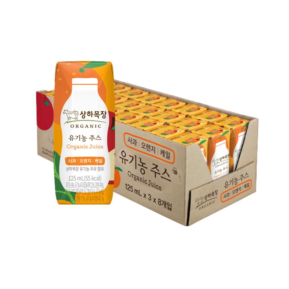 [유기농 주스] 상하목장 유기농 주스 사과오렌지케일, 125ml, 24개 - 랭킹4위 (16570원)