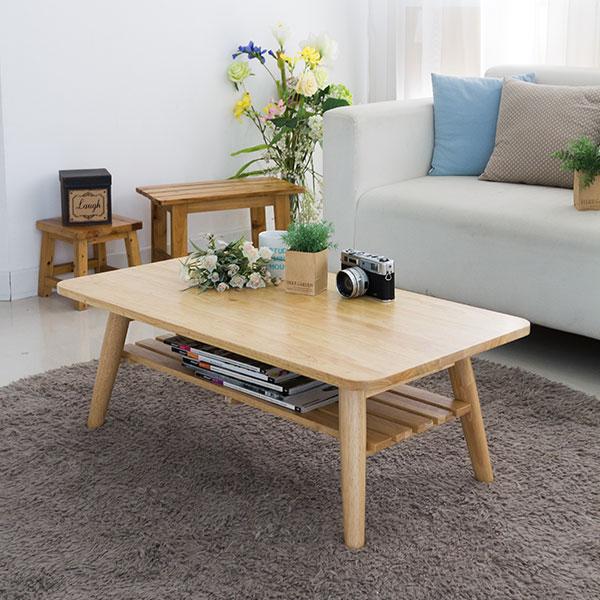 소미랑 사각 선반형 원목 테이블 900, 원목색