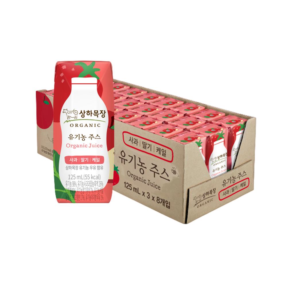 상하목장 유기농 주스 사과딸기케일, 125ml, 24개