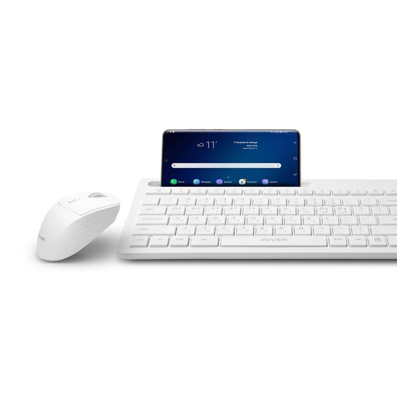 아이리버 2.4GHz+ 블루투스 무소음 키보드 마우스 세트, EQwear-MVS7000, 화이트