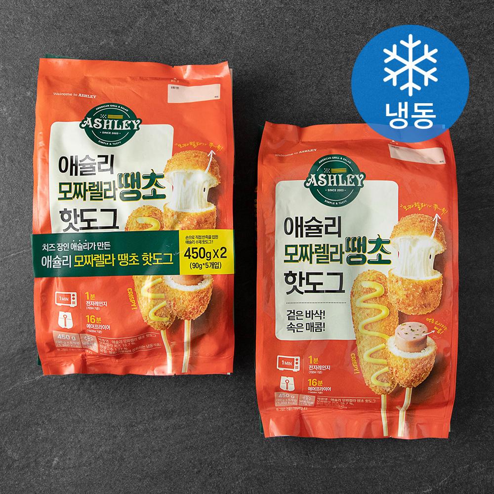애슐리 모짜렐라 땡초 핫도그 (냉동), 450g, 2개