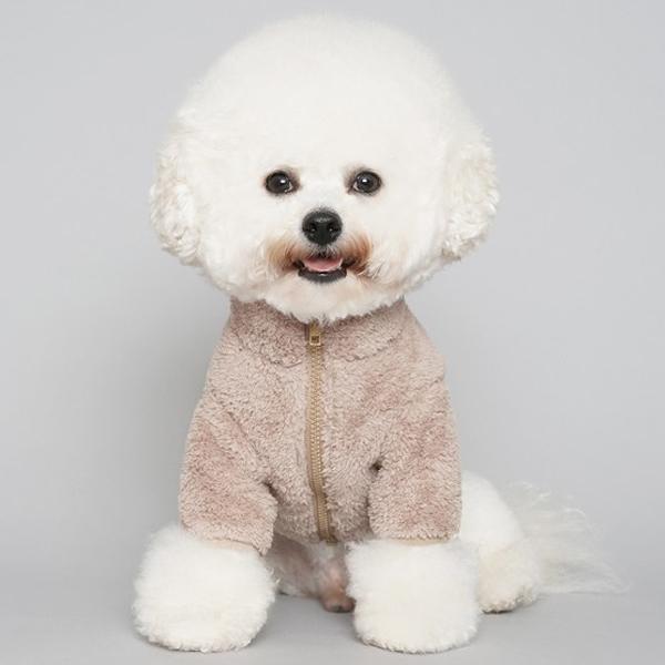 보아털 후리스 집업 강아지 옷, 핑크