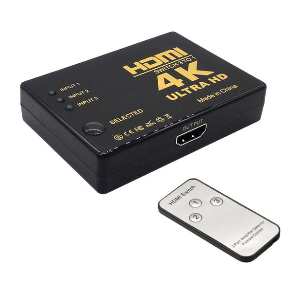 셀인스텍 HDMI SWITCH 3TO1 선택기 + 리모컨 세트, HS3TO1