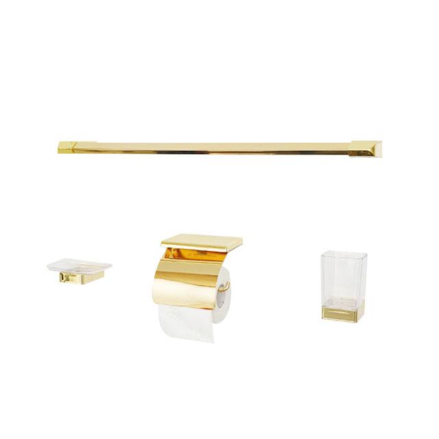 골드 욕실 수건걸이 선반형휴지걸이 액세서리 4종 세트, 단일색상, 1세트
