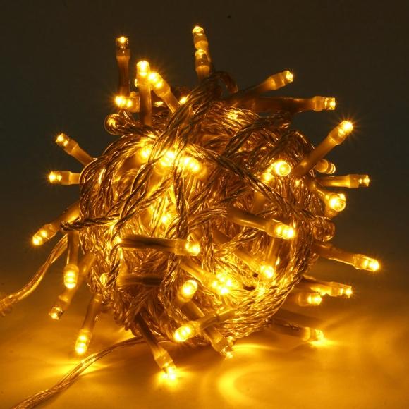 LED 방수 점멸 유 연결가능 지니전구 100구 10m, 웜색(전구) + 투명(전선)