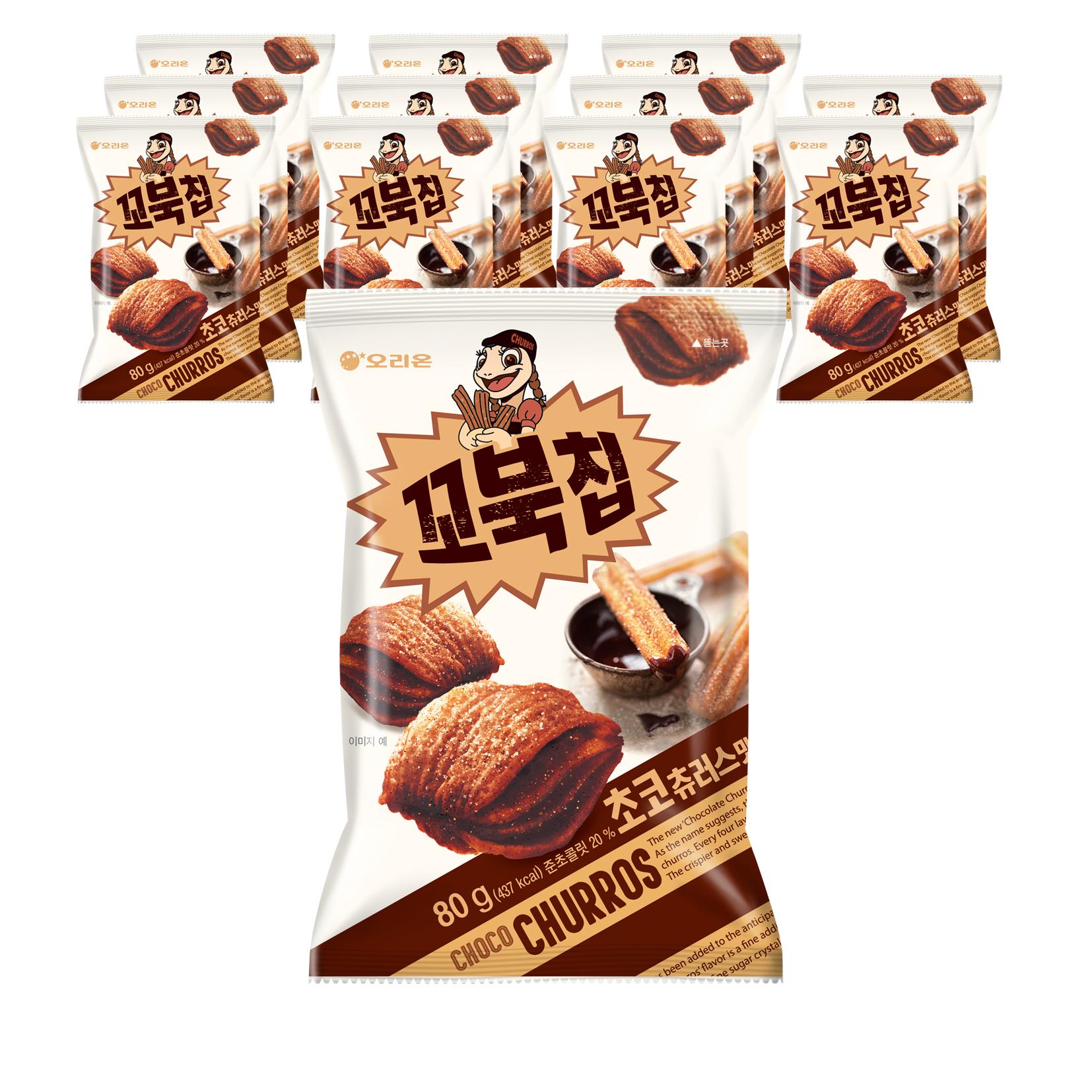 오리온 꼬북칩 초코츄러스 과자, 80g, 12개
