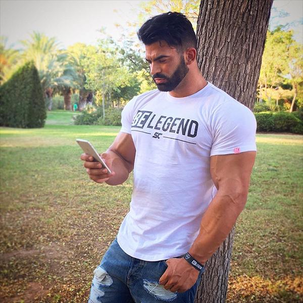BELEGEND 남성용 짐웨어 머슬핏 반팔 티셔츠