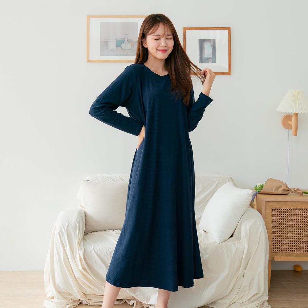 씨엘스토리 여성용 소프트기모 단색 원피스 잠옷