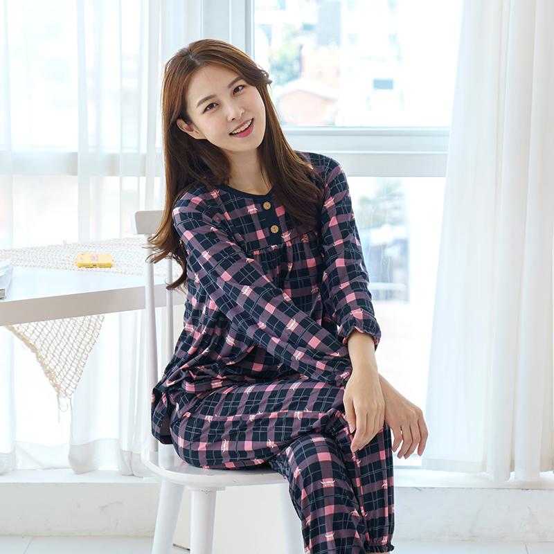 민트코코아 여성용 피치기모 스테이체크 잠옷 상하의 세트