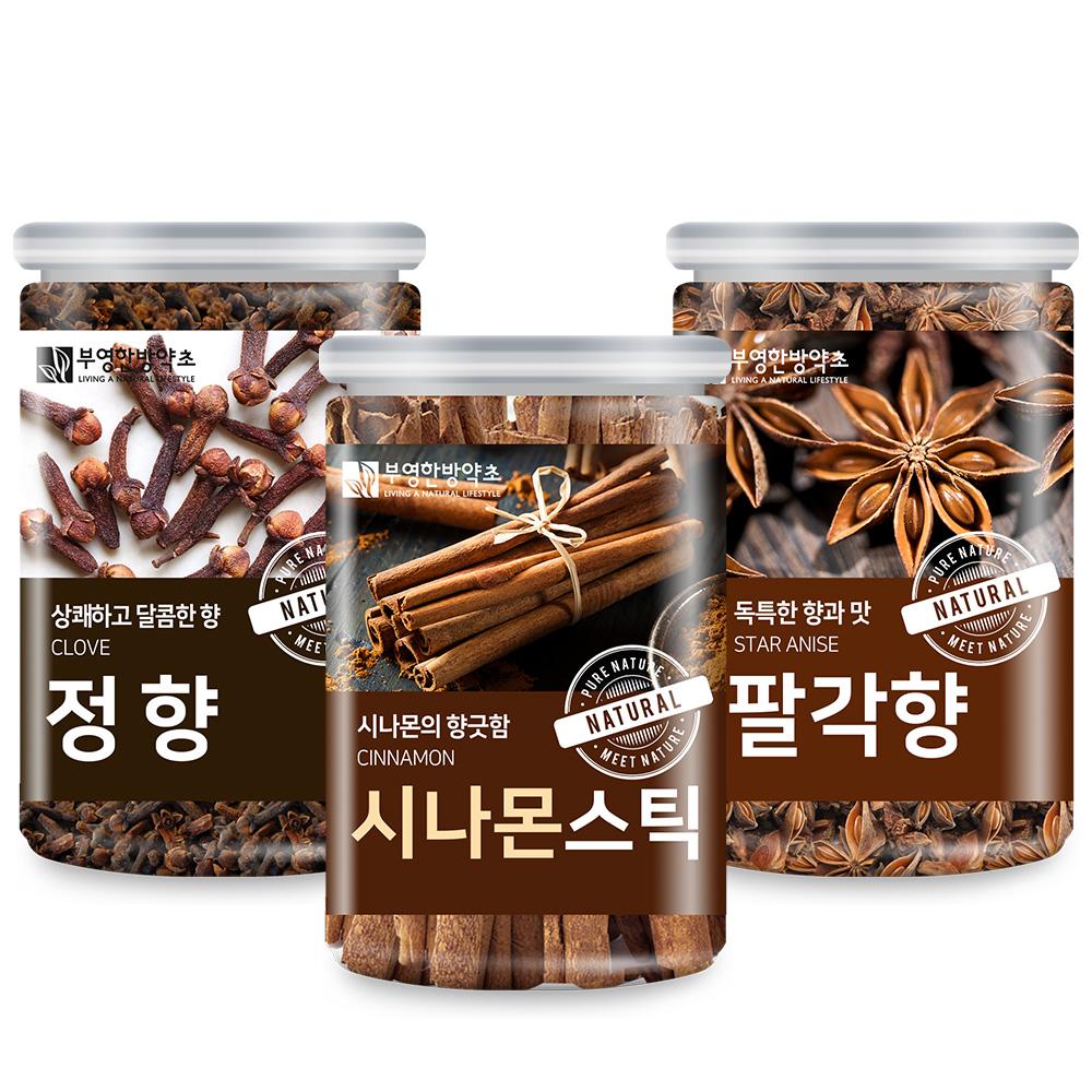 부영한방약초 뱅쇼만들기 시나몬스틱 130g + 정향 120g + 팔각향 80g 세트, 1세트, 330g