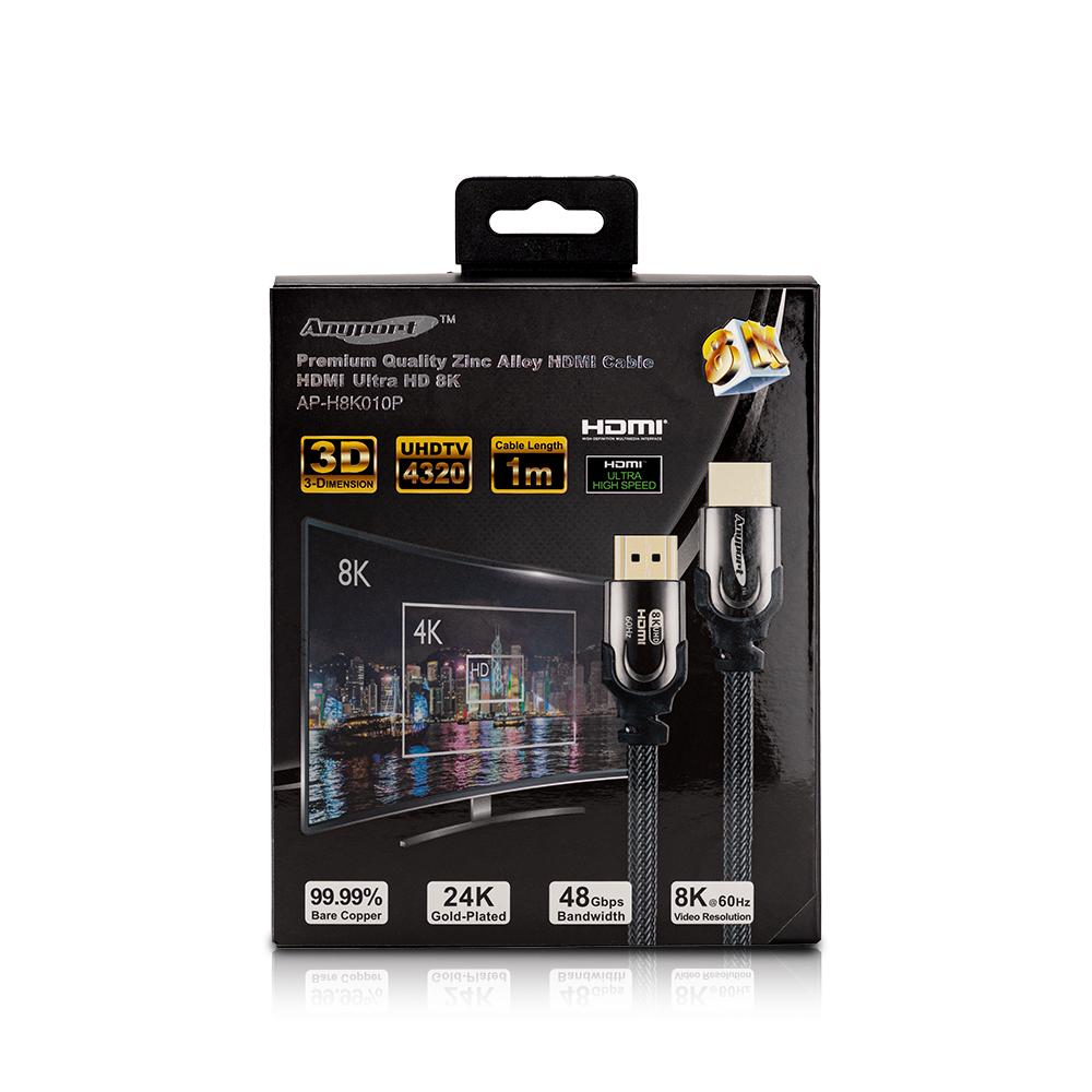 애니포트 Ultra HDMI Ver2.1 8K 모니터 케이블 AP-H8K010P, 1개, 1m