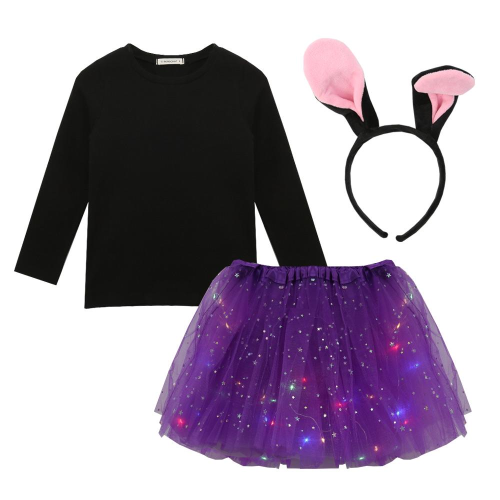 로로샤 여아용 바니 LED 스커트 + 티셔츠 + 헤어밴드